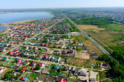 Aerial view onto rural street. Borovskiy. Russia Royalty Free Stock Image