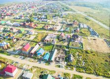 Aerial view onto rural street Royalty Free Stock Photo