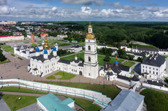 Aerial view onto Tobolsk Kremlin in summer day. Tobolsk, Russia - July 15, 2016: Bird eye view onto Tobolsk Kremlinwith St. Sophia-Assumption Cathedral in summer Royalty Free Stock Photo