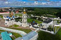Aerial view onto Tobolsk Kremlin in summer day Royalty Free Stock Photos