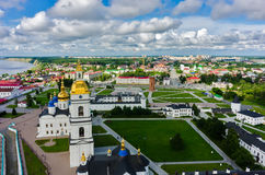 Aerial view onto Tobolsk Kremlin at summer time. Tobolsk, Russia - July 15, 2016: Bird eye view onto Tobolsk Kremlin with St. Sophia-Assumption Cathedral and Stock Photos
