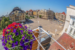 Aerial view from oof historic buildings from Victory Square, Tim. TIMISOARA, ROMANIA - AUGUST 16, 2017: Aerial view from one terase of historic buildings from Stock Image