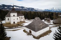 Aerial view of open-air museum in Pribylina, Slovakia. Aerial view of open-air museum of Liptov Village in Pribylina, Slovakia royalty free stock images