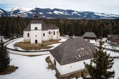 Aerial view of open-air museum in Pribylina, Slovakia. Aerial view of open-air museum of Liptov Village in Pribylina, Slovakia stock image
