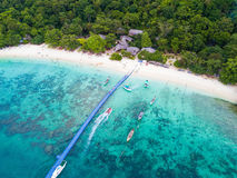 Free Aerial View Or Top View Of Tropical Island Beach With Clear Water At Banana Beach, Coral Island, Koh Hey, Phuket Royalty Free Stock Image - 99263466