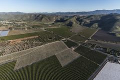 California Farms, Orchards and Groves Aerial. Aerial view of orchards, groves and farm fields near Camarillo in Ventura County, California Stock Photos