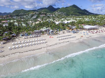 Aerial view from Orient Bay in Saint Martin Stock Images