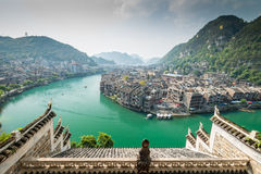 Aerial view of a oriental town Royalty Free Stock Photos
