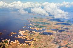 Aerial view on Orinoco river Royalty Free Stock Photos