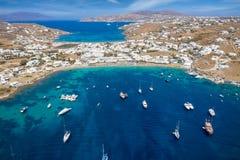 Aerial view of Ornos beach on the island of Mykonos Royalty Free Stock Photos