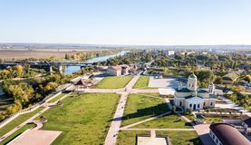 Aerial view of Orthodox cathedral, Peacekeepers bridge, with Bendery city on river of Dniester, breakaway Transnistria republic. royalty free stock photo