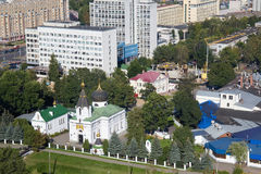 Aerial view of the orthodox Church of St. Mary Magdalene was founded in 1847 and other buildings. royalty free stock photos