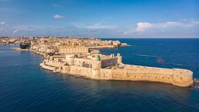 Aerial view of Ortigia, historical centre of the city of Syracuse. Aerial view of Maniace fortress in Ortigia, Sicily, Italy. San royalty free stock images