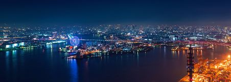 Aerial view of the Osaka Bay harbor area Royalty Free Stock Image