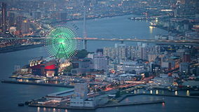 Aerial view of Osaka city in twilight, Japan stock video footage