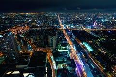 Aerial view of Osaka, Japan at night Stock Photos