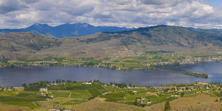 Aerial view of Osoyoos Wine Valley Panorama Stock Photos