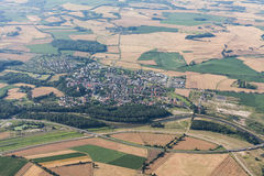 Aerial view of Otmuchow town and green harvest fields Royalty Free Stock Photography