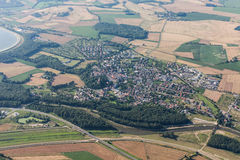 Aerial view of Otmuchow town and green harvest fields Stock Photo
