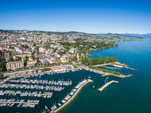Aerial view of Ouchy waterfront in  Lausanne, Switzerland Stock Photos