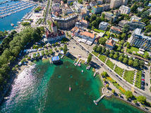 Aerial view of Ouchy waterfront in  Lausanne, Switzerland Stock Images