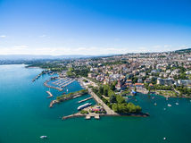 Aerial view of Ouchy waterfront in  Lausanne, Switzerland Stock Photo