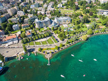 Aerial view of Ouchy waterfront in  Lausanne, Switzerland Royalty Free Stock Images