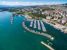Aerial view of Ouchy waterfront in  Lausanne, Switzerland Royalty Free Stock Image