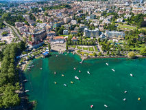 Aerial view of Ouchy waterfront in  Lausanne, Switzerland Royalty Free Stock Photography