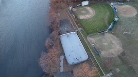 Aerial View Outdoor Hockey Game Winter stock footage