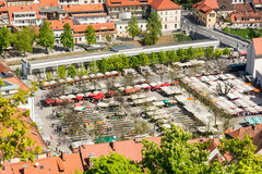 Aerial view of a outdoor market Stock Photos