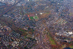 Aerial view of outskirts of Dusseldorf, Germany Royalty Free Stock Photos