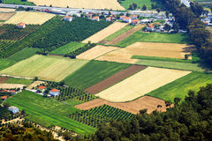 Aerial view over agricultural fields Royalty Free Stock Photography