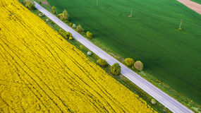 Aerial view over the agricultural fields Royalty Free Stock Photo