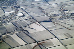 Aerial view over the agricultural plant Stock Photos