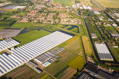 Aerial view over the Amsterdam suburbs Royalty Free Stock Photos