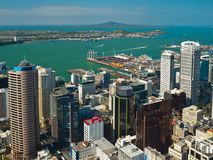 Aerial view over Auckland downtown city stock photos