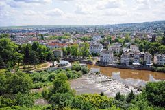 Aerial view over Bad Kreuznach Germany. With Nahe river and ellerbach Stock Photos