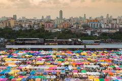 Aerial view over Bangkok city downtown flea market, Royalty Free Stock Photography