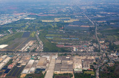 Aerial view over Bangkok suburb Stock Photo