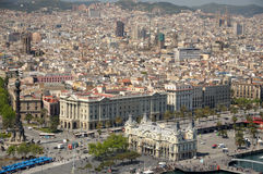 Aerial view over Barcelona, Spain Royalty Free Stock Photo