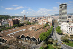 Aerial view over Barcelona Spain Royalty Free Stock Images