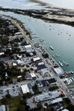 Front street and Taylor Creek in Beaufort NC. An aerial view over Beaufort North Carolina with Taylor Creek and Front street royalty free stock images