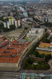 Aerial view over Berlin from Fernsehturm. An aerial view over Berlin buildings seen from the Berlin TV-tower Royalty Free Stock Image