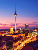 Aerial view over Berlin in Germany on a sunset Stock Photo
