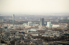 Aerial View over Bloomsbury, London. View from a tall building across the central London districts of Bloomsbury and Euston with the BT Tower prominent  on the Stock Photos