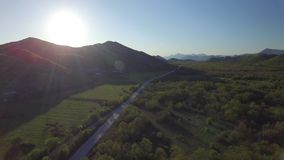 Aerial view over the Bosnia highway stock video footage