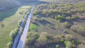 Aerial view over the Bosnia highway stock footage