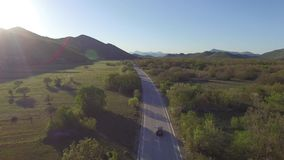 Aerial view over the Bosnia highway stock video