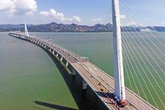The Bridge Houhai Bay To Hong Kong Island. Aerial View Over The Bridge Houhai Bay To Hong Kong Island royalty free stock images